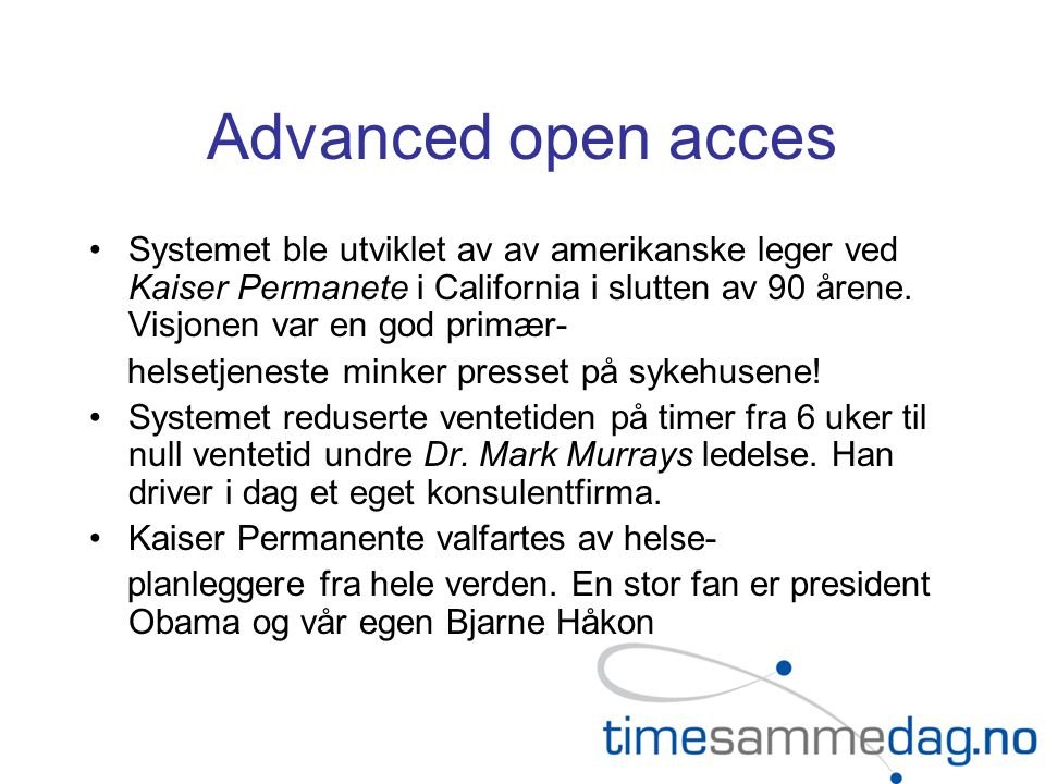 Advanced open acces