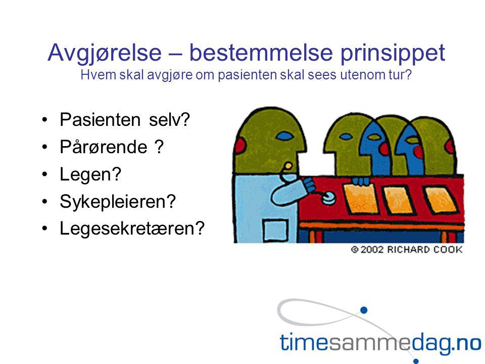 Avgjørelse – bestemmelse prinsippet Hvem skal avgjøre om pasienten skal sees utenom tur