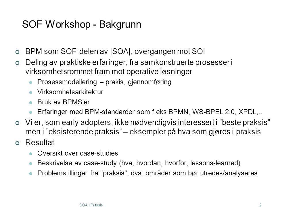 SOF Workshop - Bakgrunn
