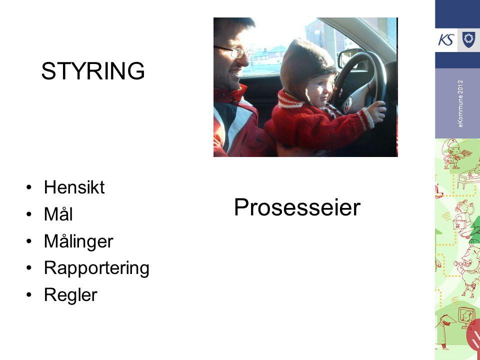 STYRING Prosesseier Hensikt Mål Målinger Rapportering Regler