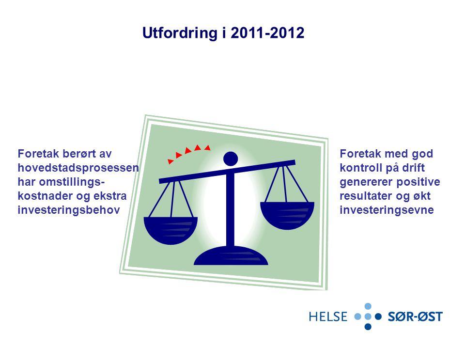 Utfordring i 2011-2012 Foretak berørt av hovedstadsprosessen har omstillings-kostnader og ekstra investeringsbehov.