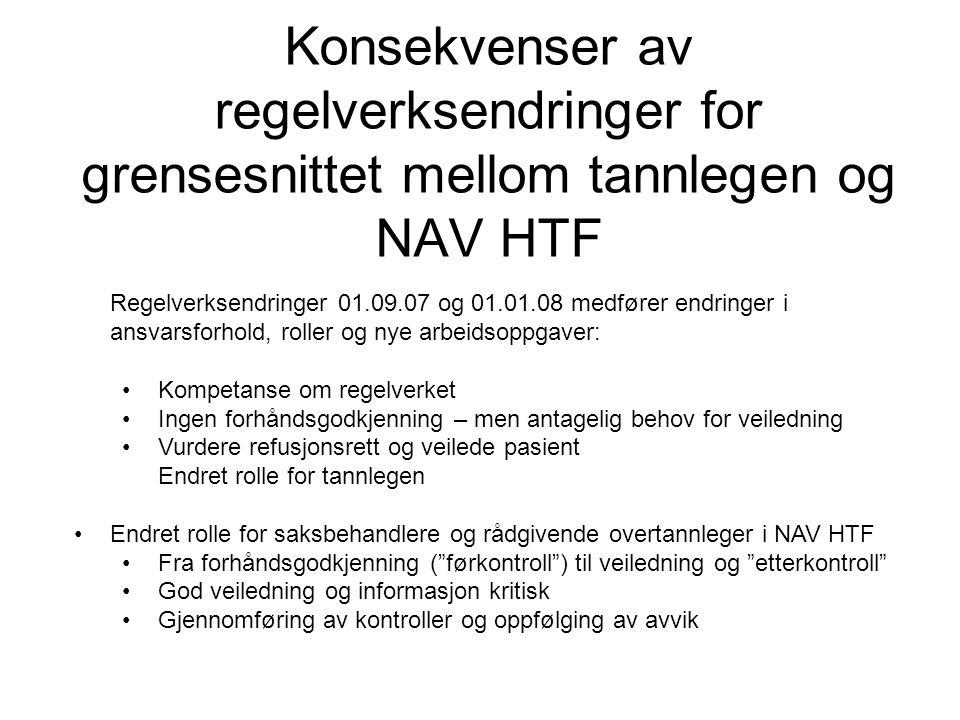 Konsekvenser av regelverksendringer for grensesnittet mellom tannlegen og NAV HTF