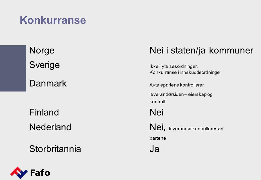 Konkurranse Norge Nei i staten/ja kommuner