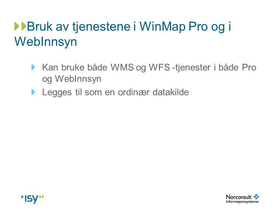 Bruk av tjenestene i WinMap Pro og i WebInnsyn