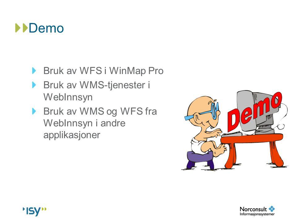 Demo Demo Bruk av WFS i WinMap Pro Bruk av WMS-tjenester i WebInnsyn
