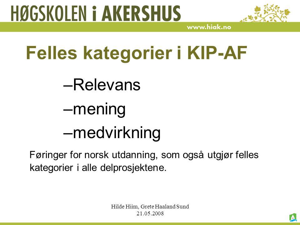 Felles kategorier i KIP-AF