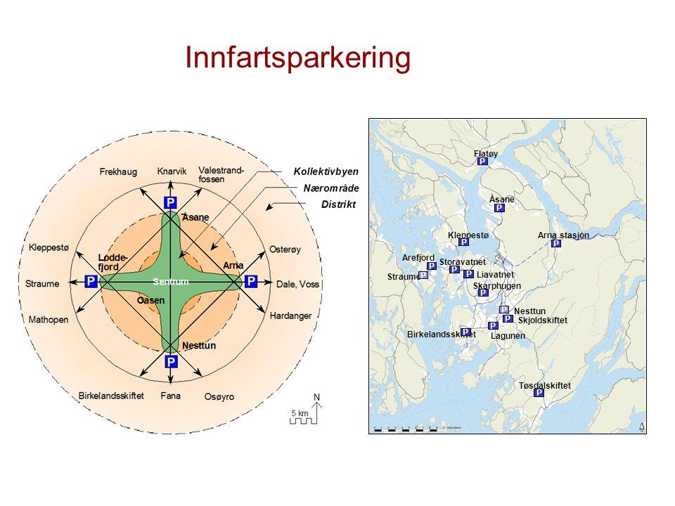 Innfartsparkering Tøsdalskiftet. Arna stasjon. Flatøy. Åsane. Nesttun. Skjoldskiftet. Lagunen.