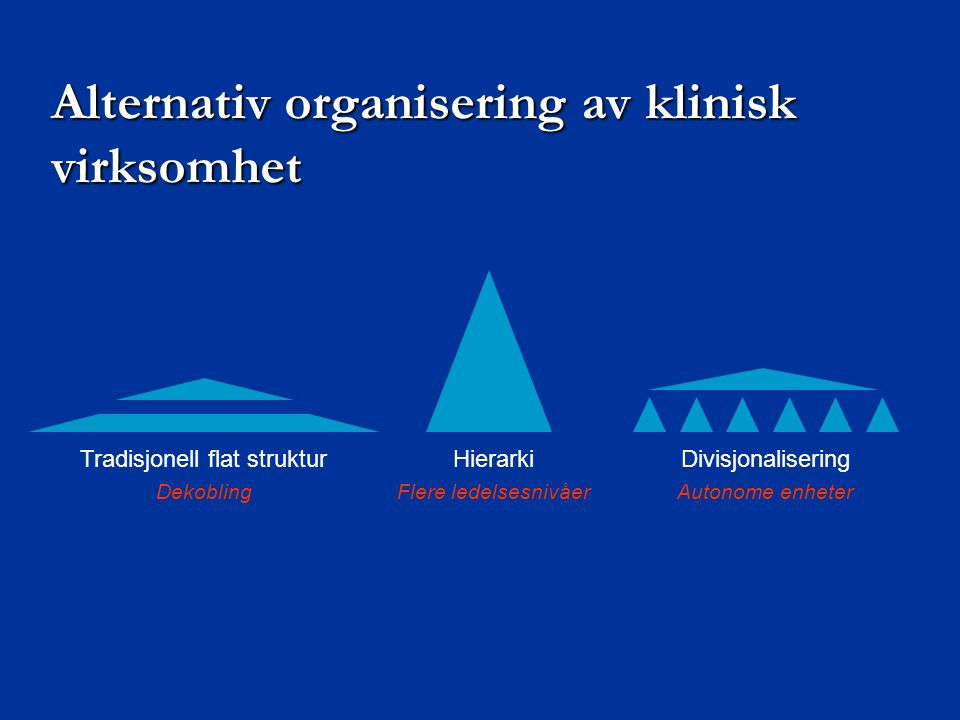 Alternativ organisering av klinisk virksomhet