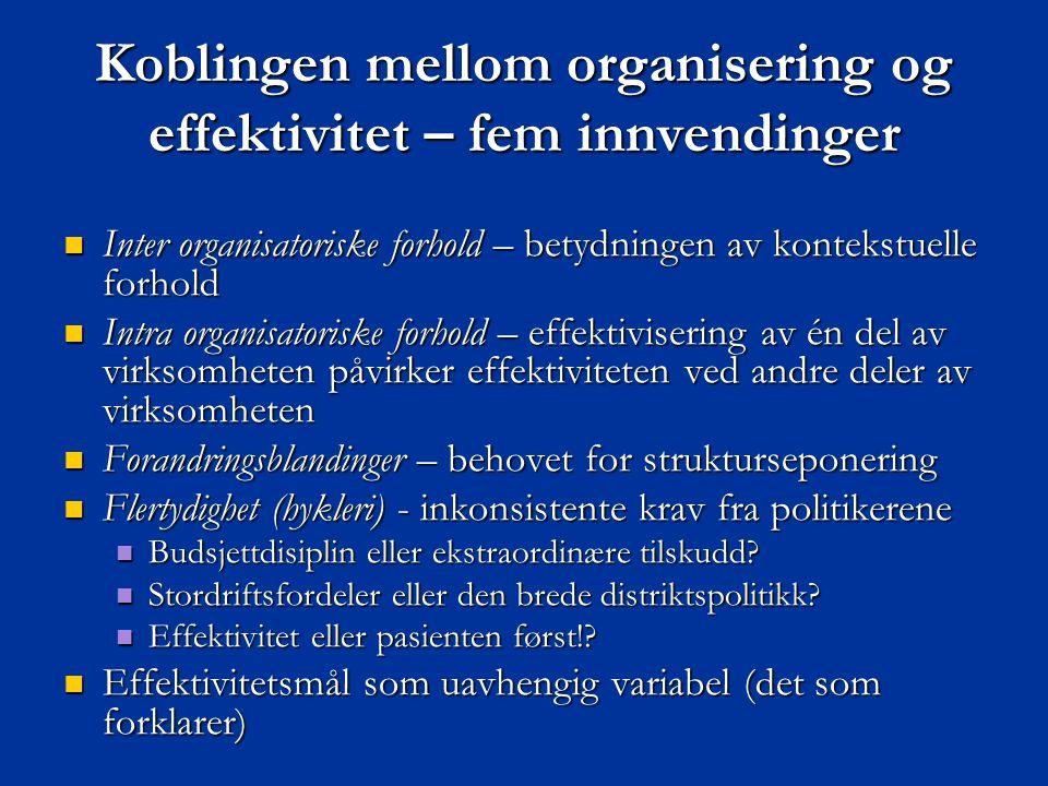 Koblingen mellom organisering og effektivitet – fem innvendinger