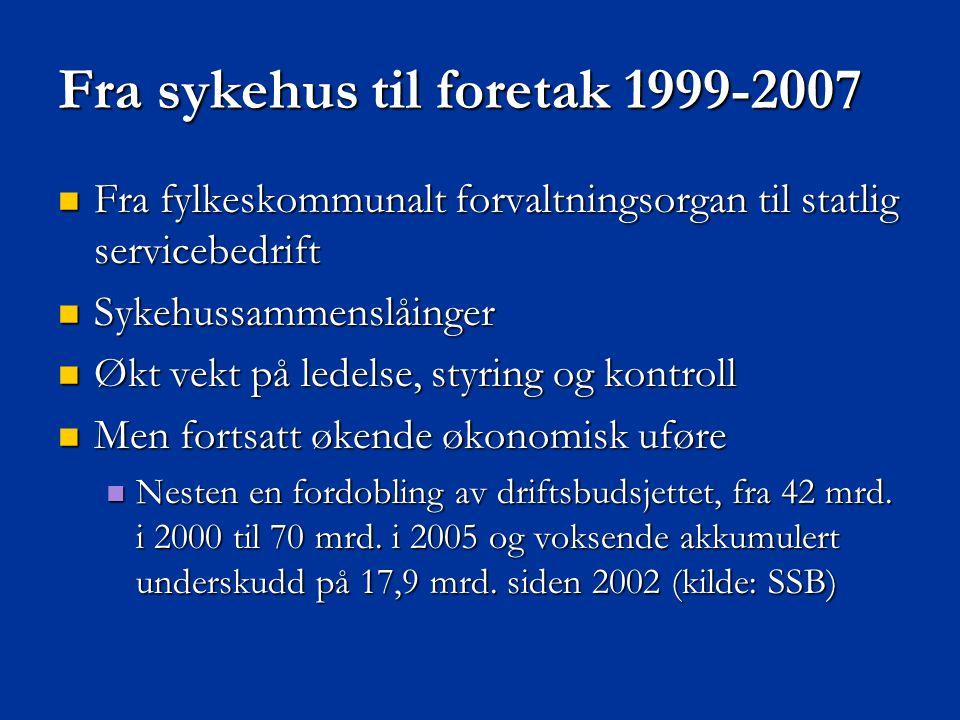 Fra sykehus til foretak 1999-2007