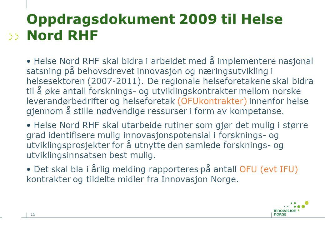 Oppdragsdokument 2009 til Helse Nord RHF