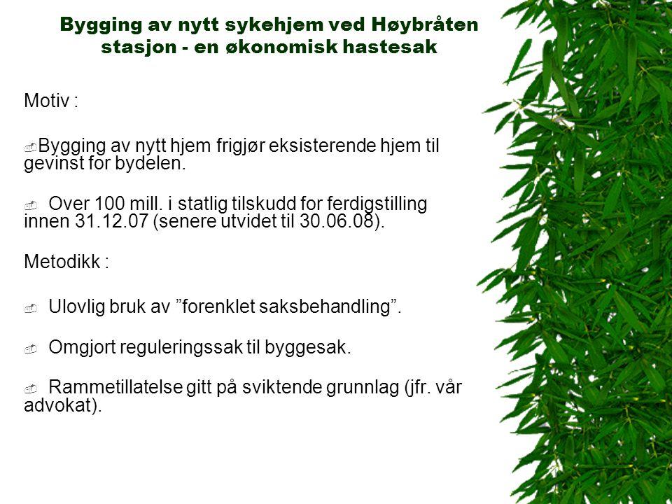 Bygging av nytt sykehjem ved Høybråten stasjon - en økonomisk hastesak