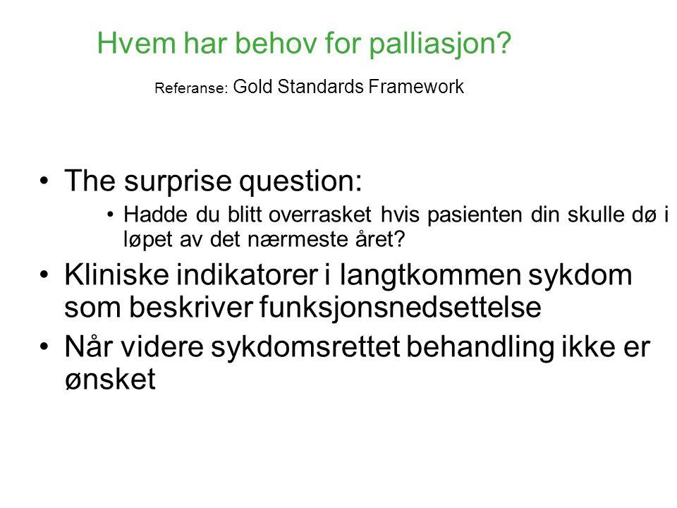 Hvem har behov for palliasjon Referanse: Gold Standards Framework