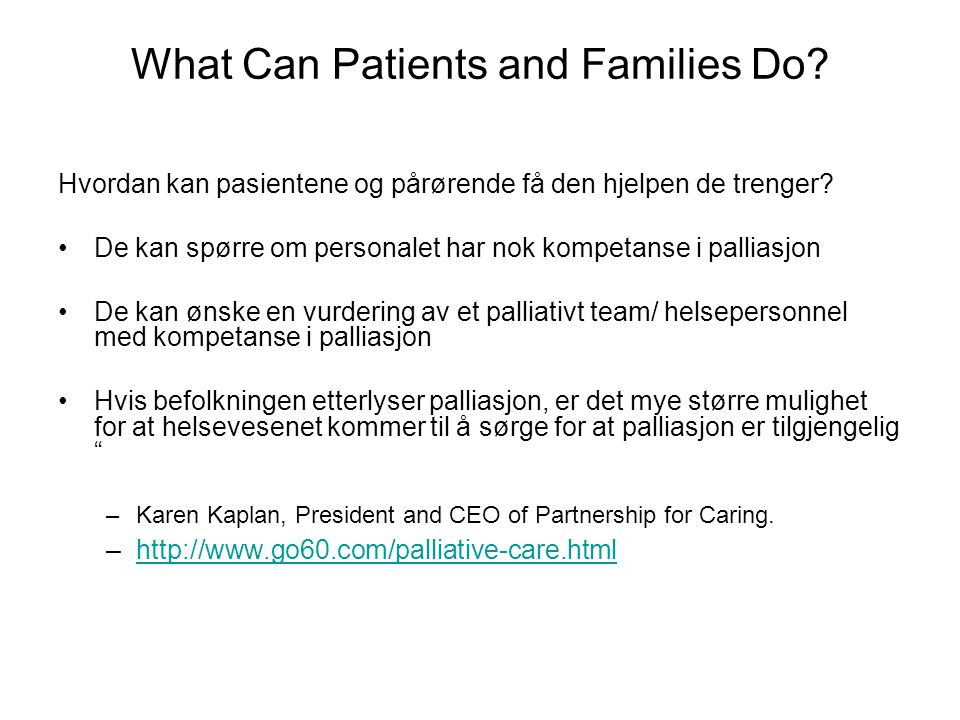 What Can Patients and Families Do