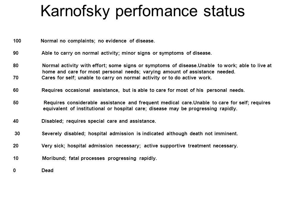 Karnofsky perfomance status