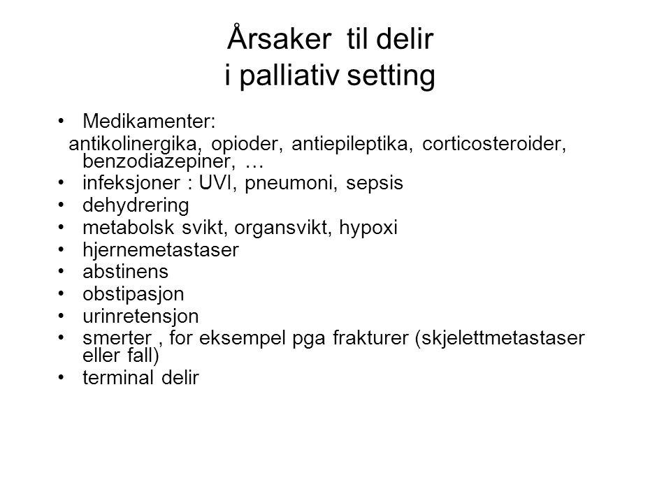 Årsaker til delir i palliativ setting