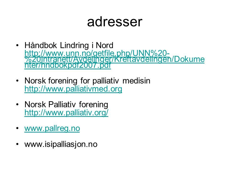 adresser Håndbok Lindring i Nord