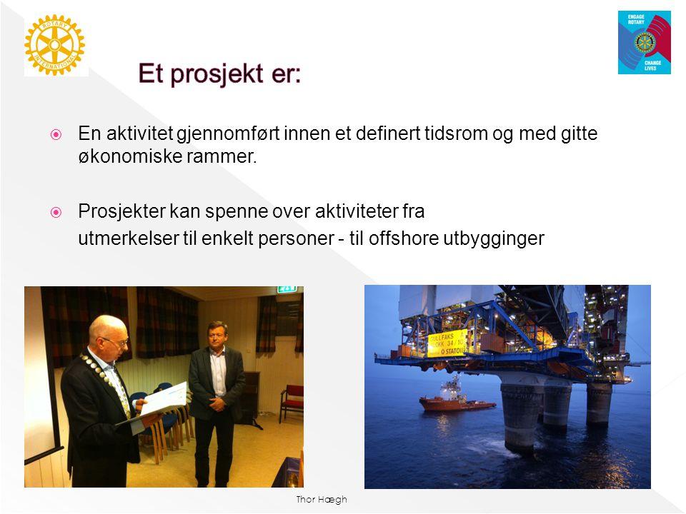 Et prosjekt er: En aktivitet gjennomført innen et definert tidsrom og med gitte økonomiske rammer. Prosjekter kan spenne over aktiviteter fra.