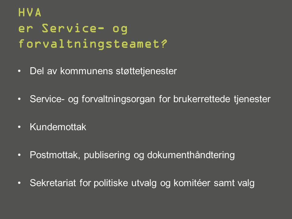 HVA er Service- og forvaltningsteamet