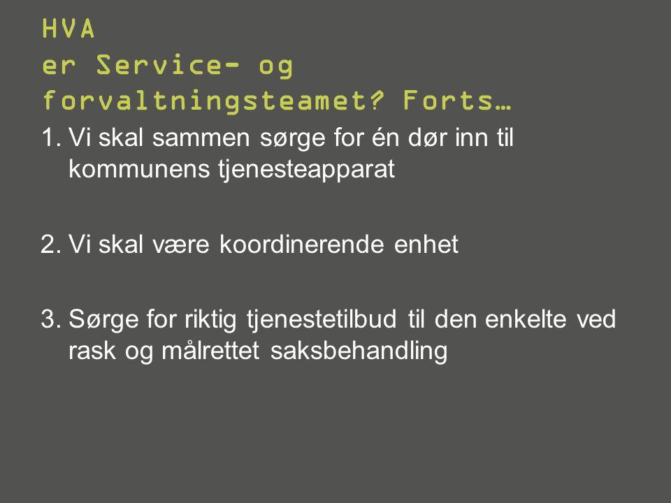 HVA er Service- og forvaltningsteamet Forts…