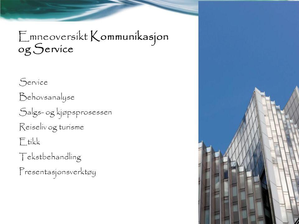 Emneoversikt Kommunikasjon og Service
