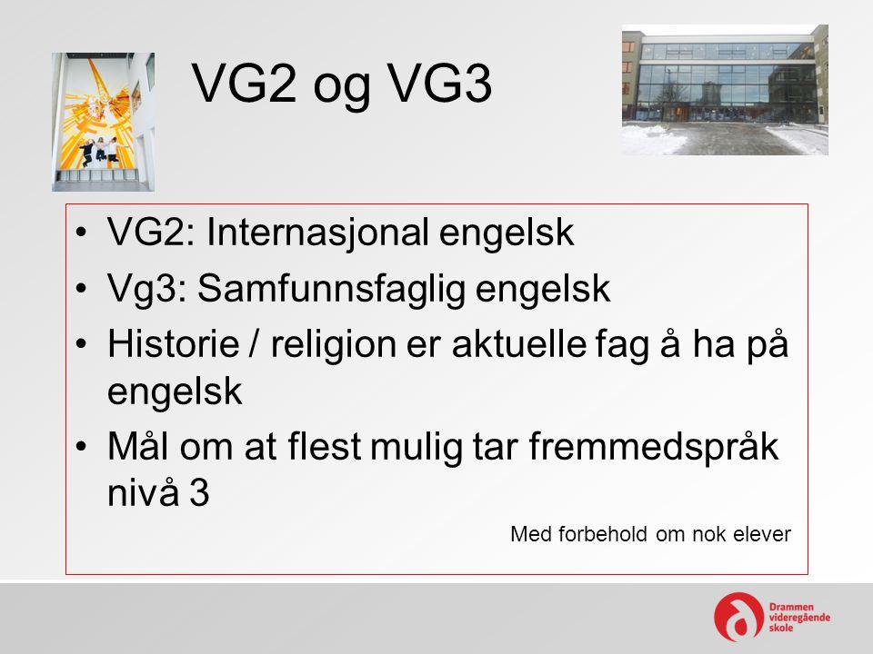 VG2 og VG3 VG2: Internasjonal engelsk Vg3: Samfunnsfaglig engelsk