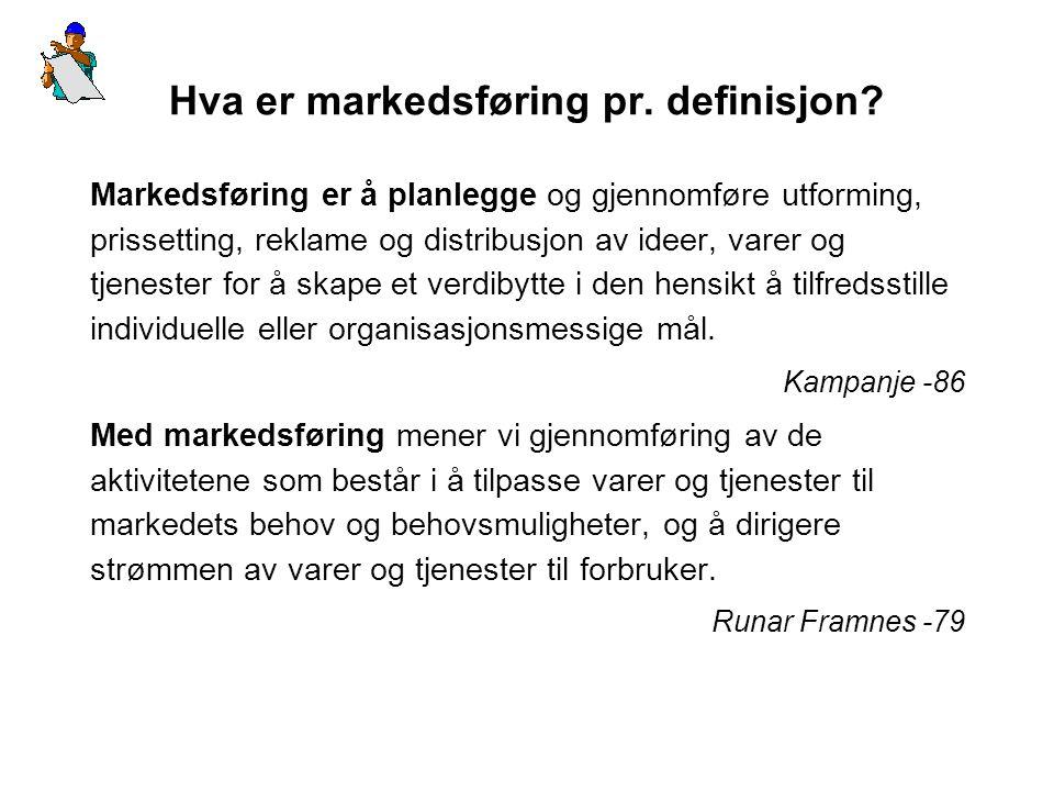Hva er markedsføring pr. definisjon