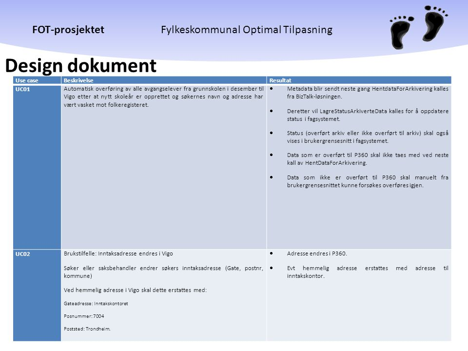 Design dokument Use case Beskrivelse Resultat UC01