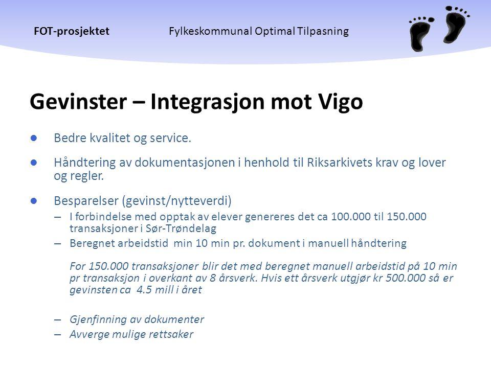 Gevinster – Integrasjon mot Vigo