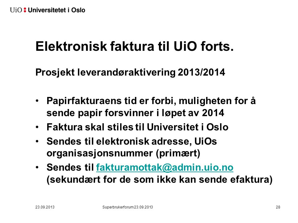 3. Elektronisk faktura til UiO