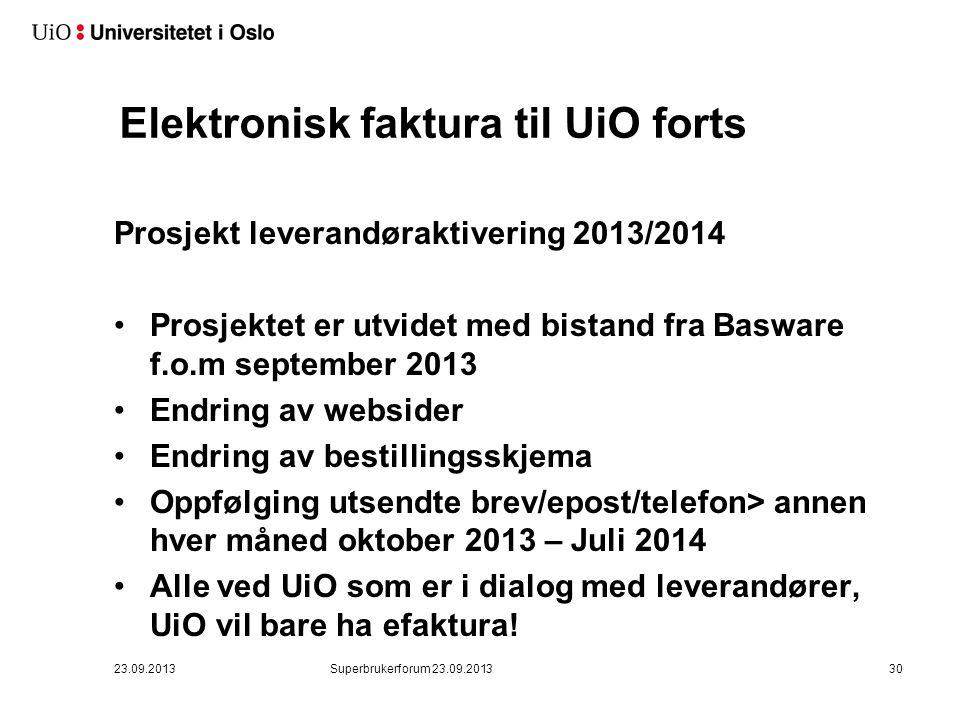 Elektronisk faktura til UiO forts.