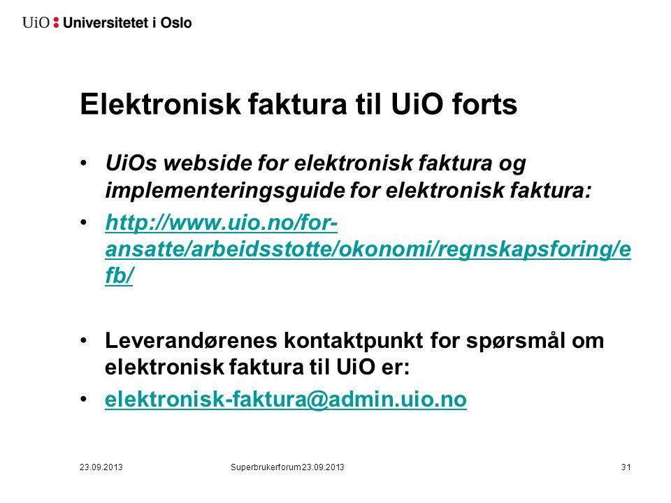 Elektronisk faktura til UiO forts