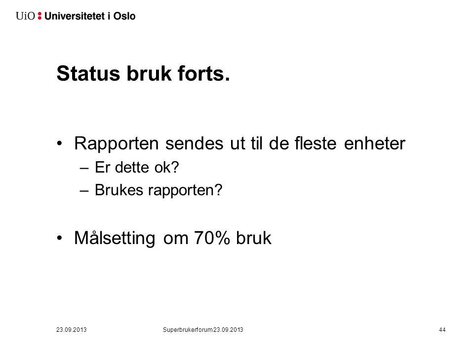 7. Status bruk av bestillingssystemet pr august 2013
