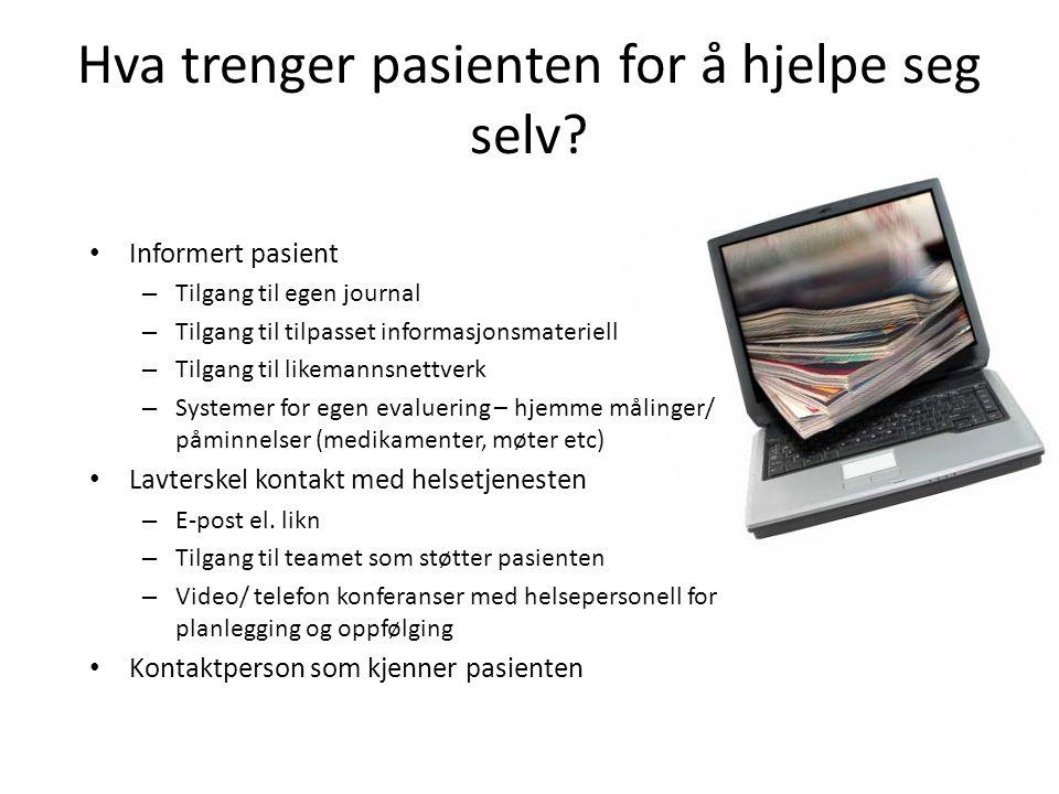 Hva trenger pasienten for å hjelpe seg selv