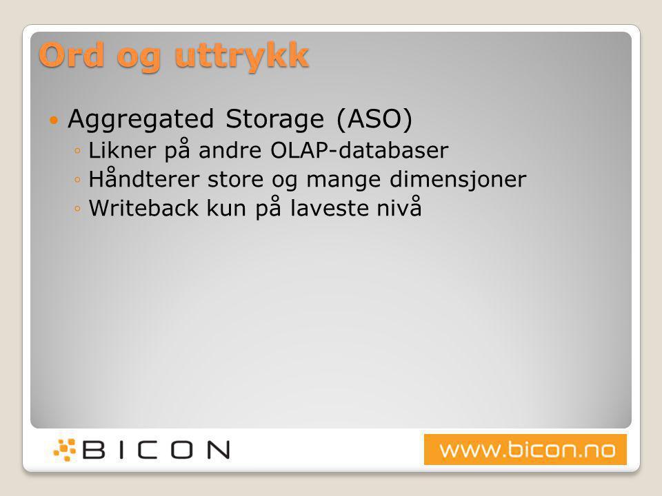 Ord og uttrykk Aggregated Storage (ASO) Likner på andre OLAP-databaser