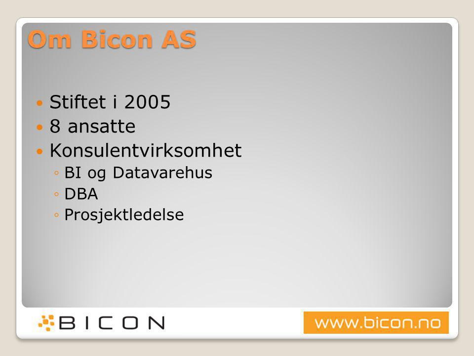 Om Bicon AS Stiftet i 2005 8 ansatte Konsulentvirksomhet