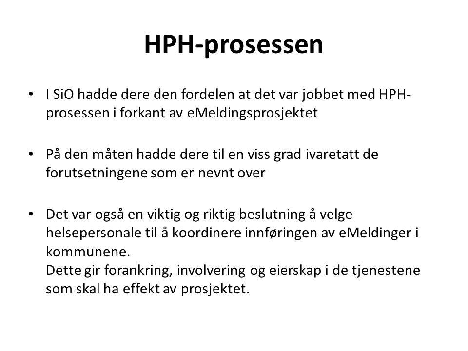 HPH-prosessen I SiO hadde dere den fordelen at det var jobbet med HPH-prosessen i forkant av eMeldingsprosjektet.