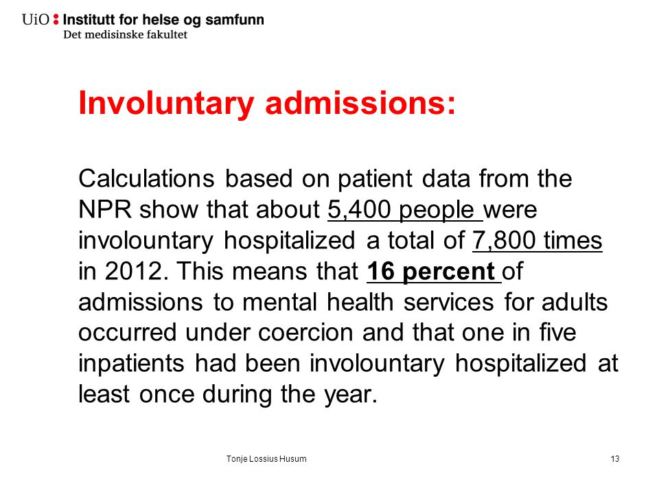 Total admissions in mental health hospital in 2012 - official health statistics