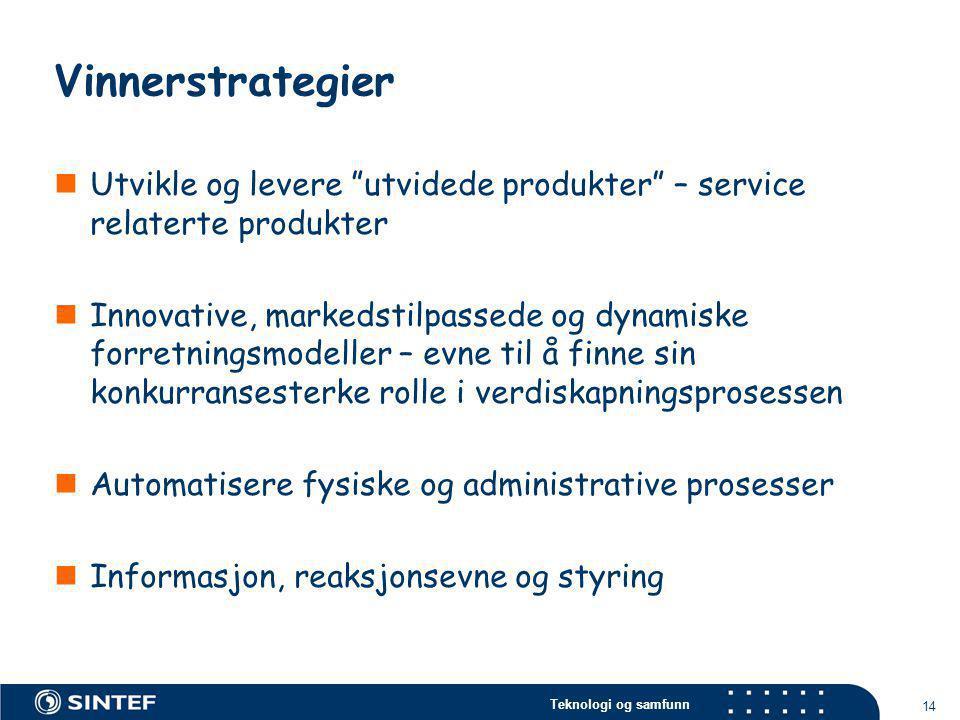 Vinnerstrategier Utvikle og levere utvidede produkter – service relaterte produkter.