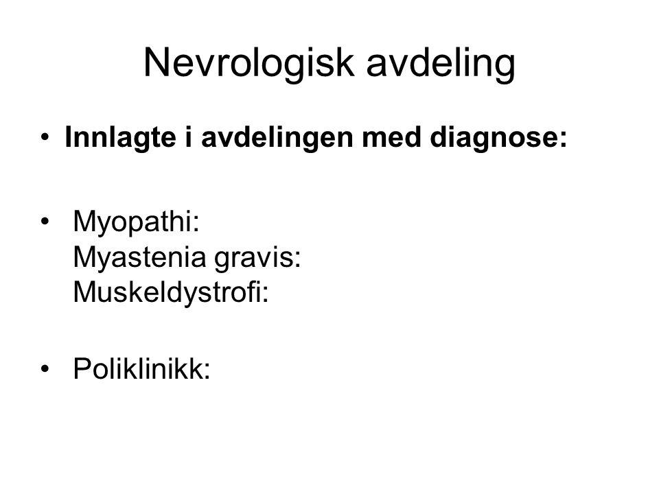 Nevrologisk avdeling Innlagte i avdelingen med diagnose: