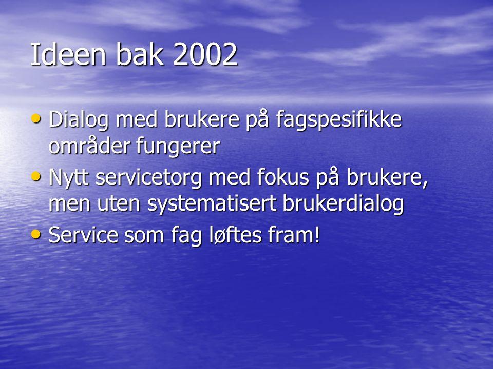 Ideen bak 2002 Dialog med brukere på fagspesifikke områder fungerer