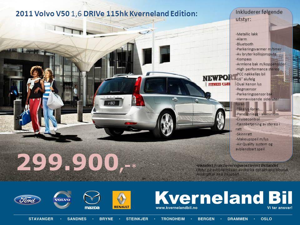 2011 Volvo V50 1,6 DRIVe 115hk Kverneland Edition: Fra kr: