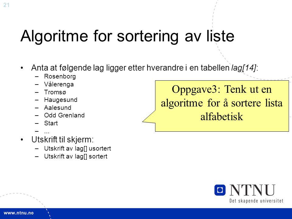 Algoritme for sortering av liste