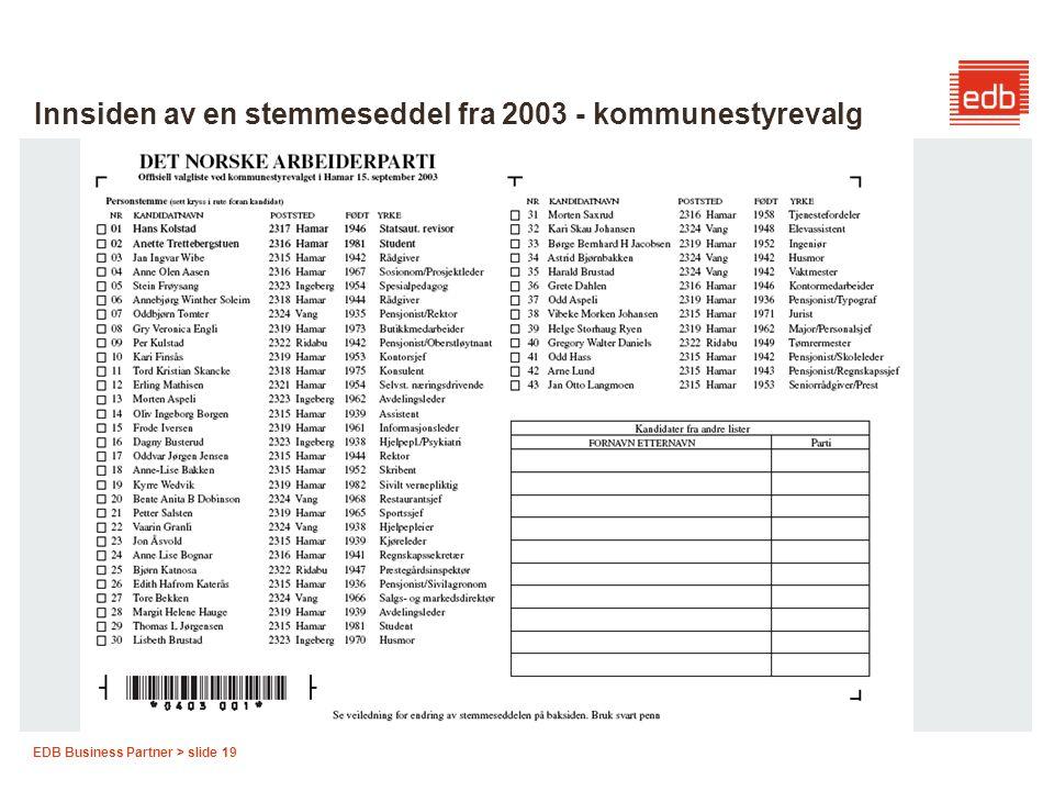 Innsiden av en stemmeseddel fra 2003 - kommunestyrevalg