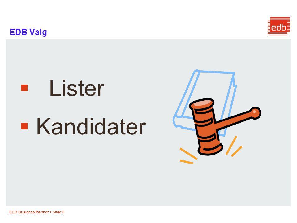 EDB Valg Lister Kandidater