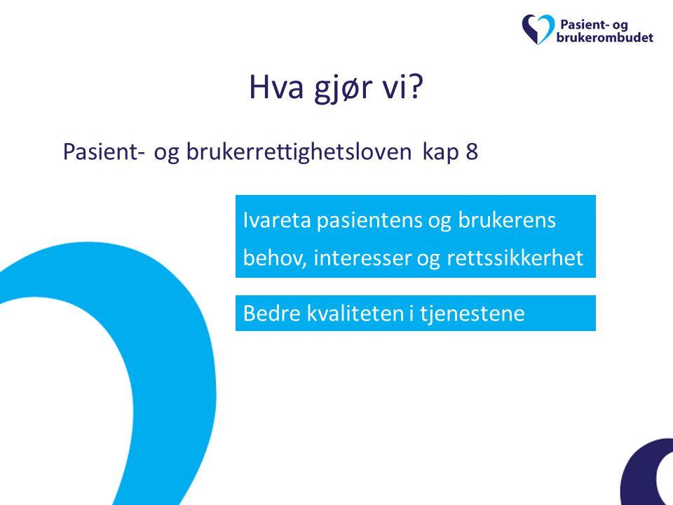 Hva gjør vi Pasient- og brukerrettighetsloven kap 8