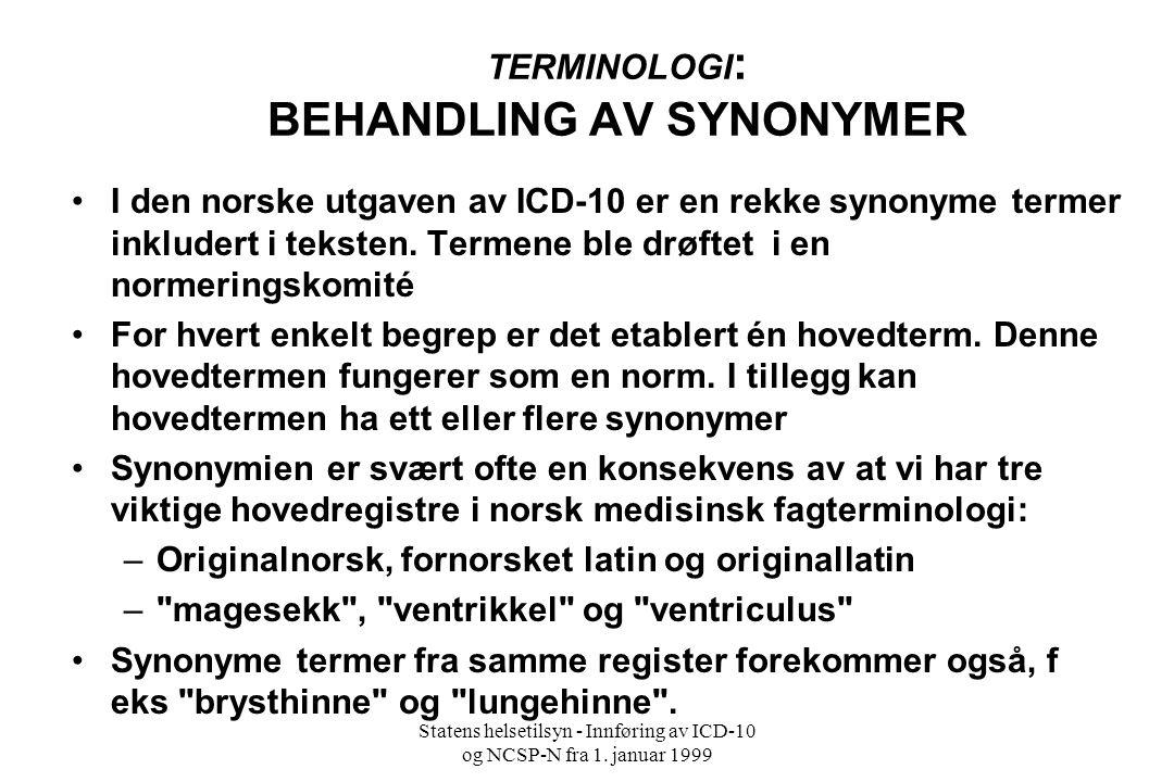 TERMINOLOGI: BEHANDLING AV SYNONYMER