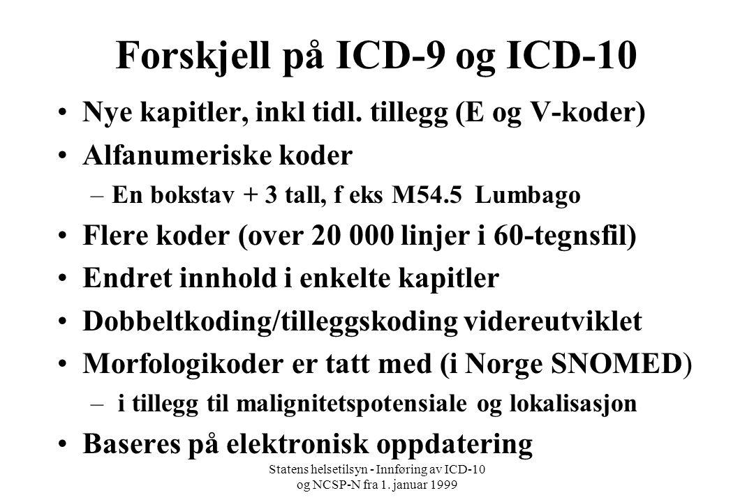 Forskjell på ICD-9 og ICD-10