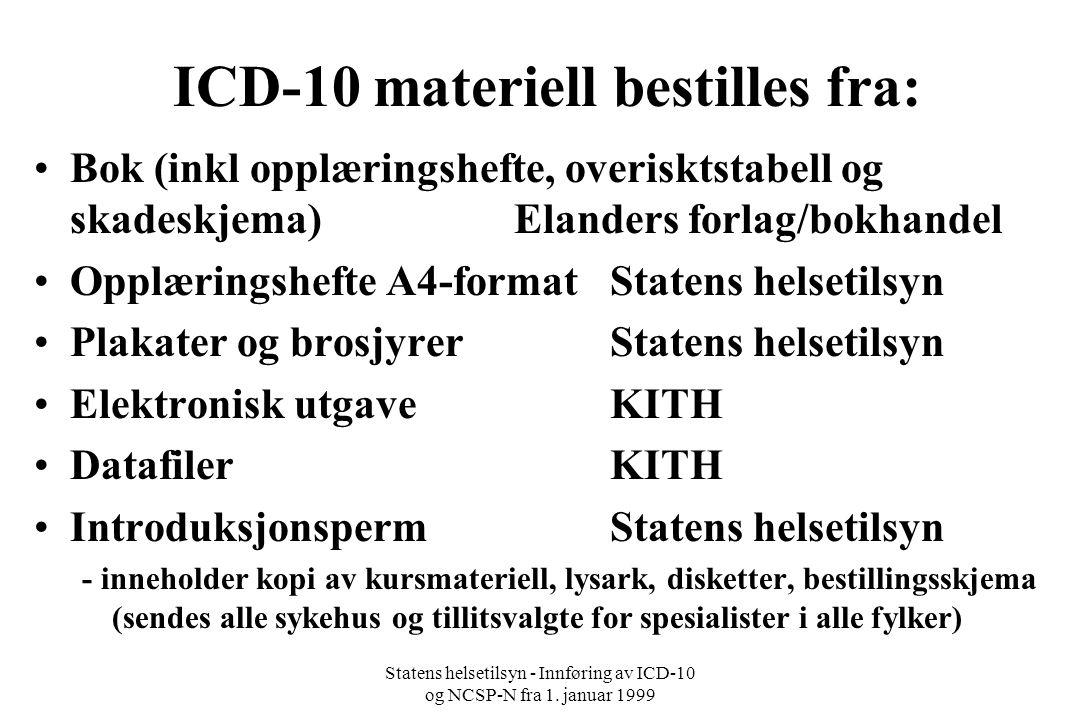 ICD-10 materiell bestilles fra: