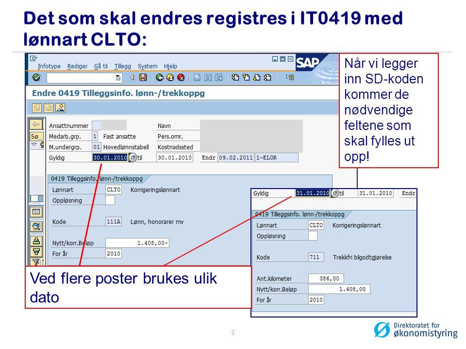 Det som skal endres registres i IT0419 med lønnart CLTO: